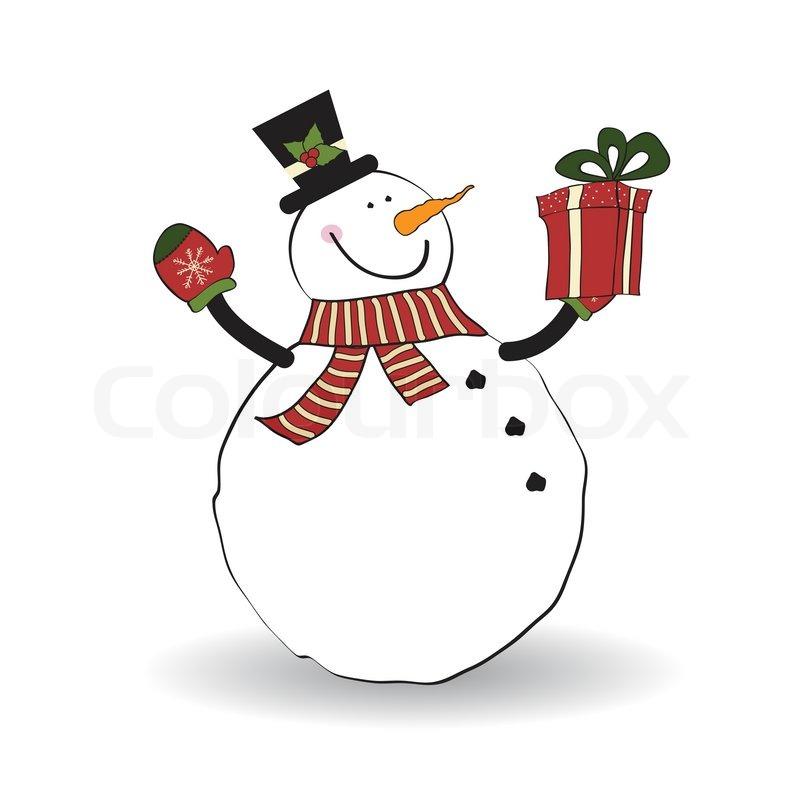 Weihnachtsgrußkarte mit Schneemann   Vektorgrafik   Colourbox