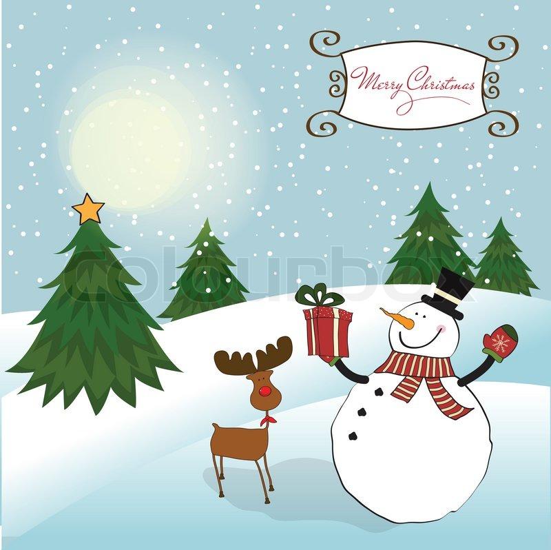 Christmas Greeting Card With Snowman By Claudia Balasoiu