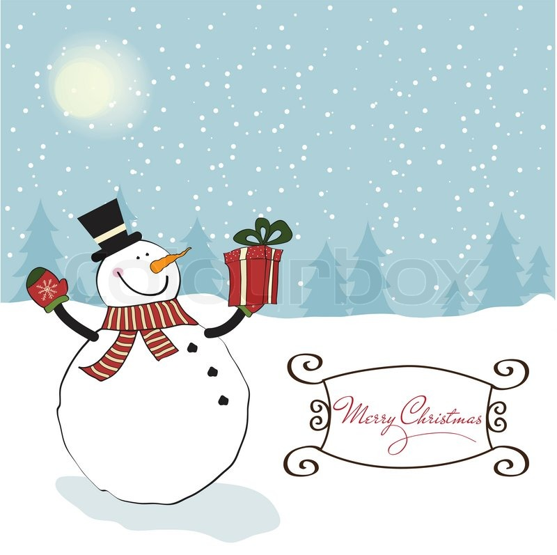 Christmas greeting card with snowman stock vector
