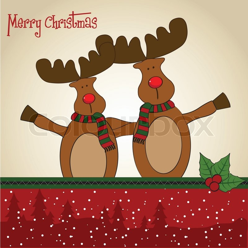reindeer christmas card card with reindeer stock vector colourbox 2824