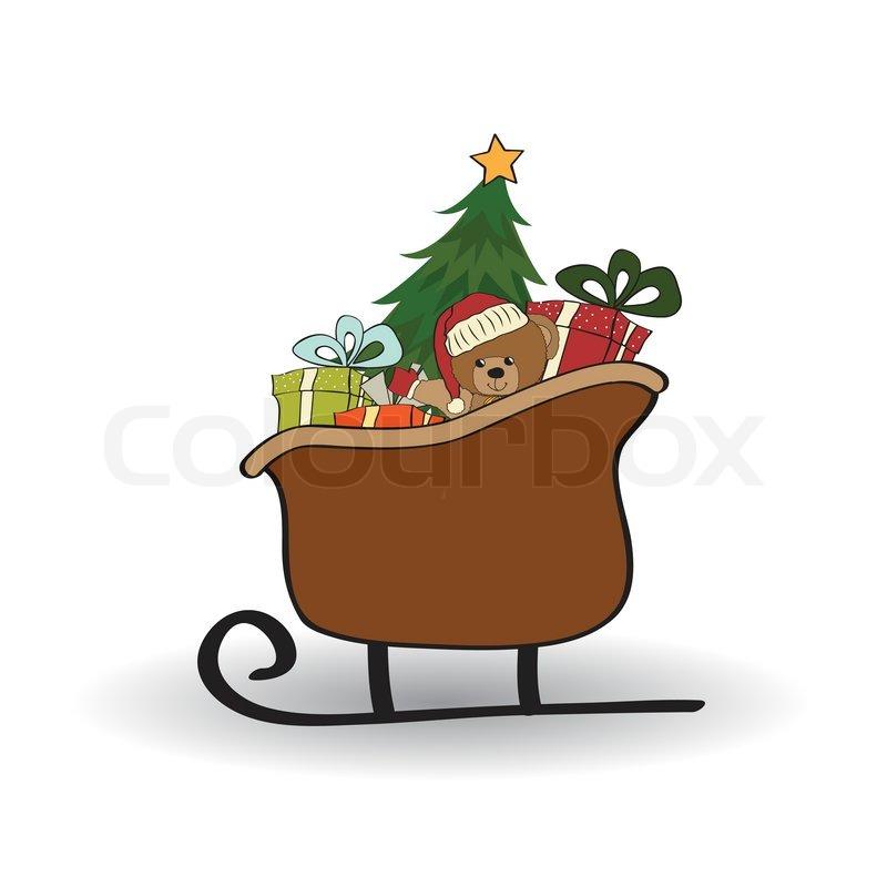 Weihnachtsschlitten mit Geschenken, isoliert auf weißem Hintergrund ...