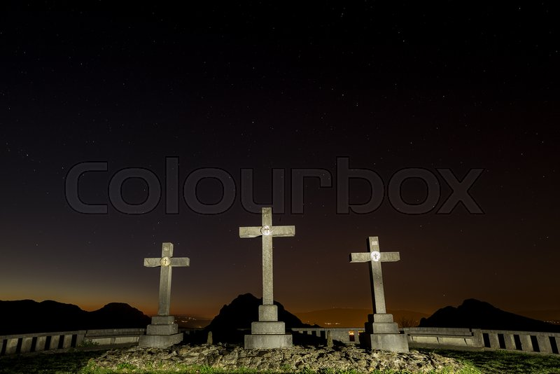 Calvario, calvary, three crosses at Urkiola, Bizkaia, stock photo