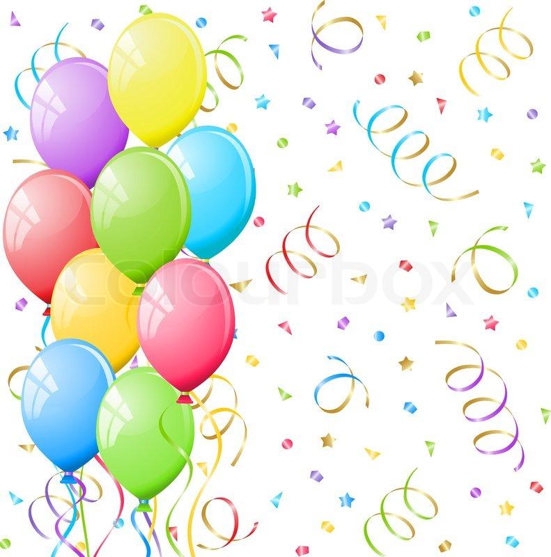 Balloons And Confetti Stock Vector Colourbox