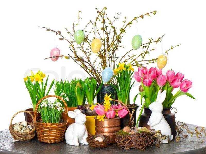 For r blomster med p skeharen og g dekoration stock - Foto dekoration ...