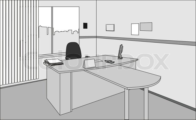 executive office schreibtisch und stuhl vektorgrafik colourbox. Black Bedroom Furniture Sets. Home Design Ideas