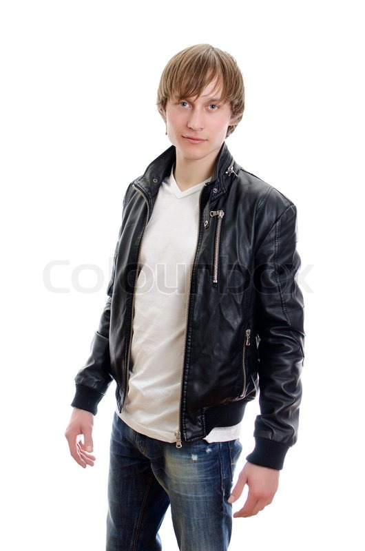 Casual young man in white t-shirt, leather jacket and jeans ...