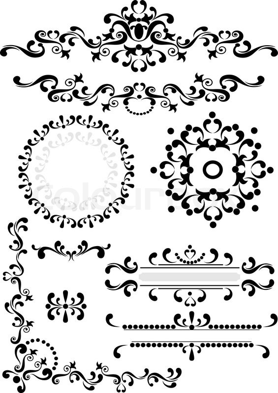 Black ornament corner,border,frame on a white background. Graphic ...