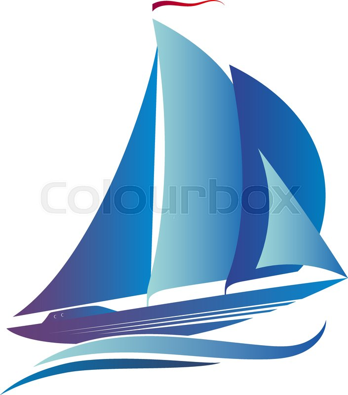 Ship with a sail on the blue waves | Stock vector | Colourbox