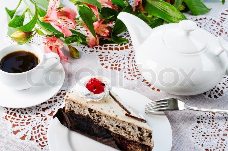фото чашка кофе и торт