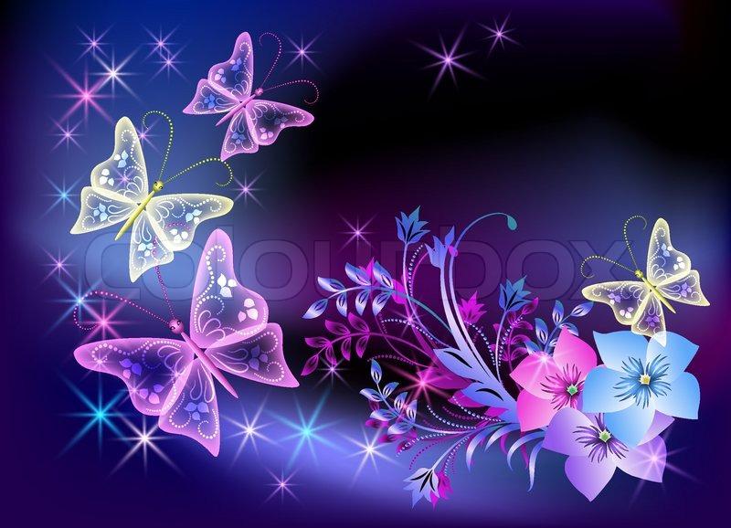 Glowing Transparent Blumen Und Stock Vektor Colourbox