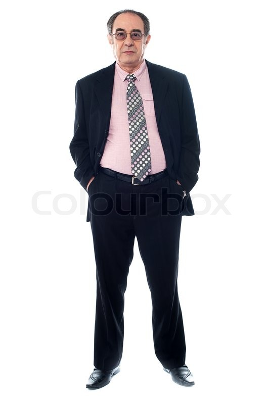 Stock image of senior executive ewearing eyeglasses and posing with