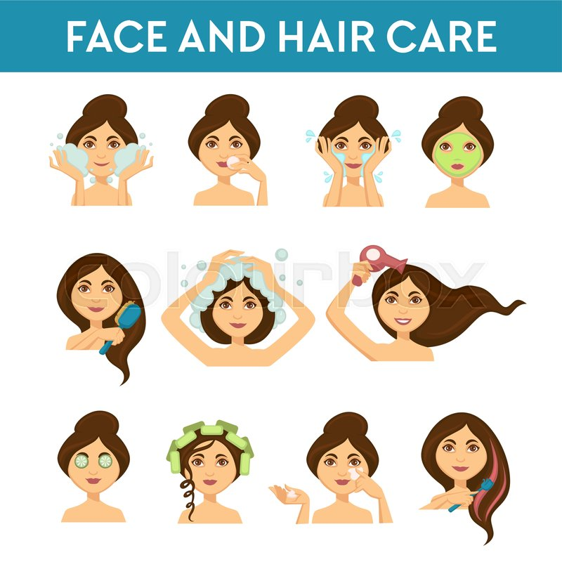 Beauty Procedures Face And Hair Care Stock Vector Colourbox