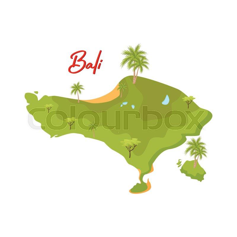 Cartoon Illustration Of Bali Map Stock Vector Colourbox