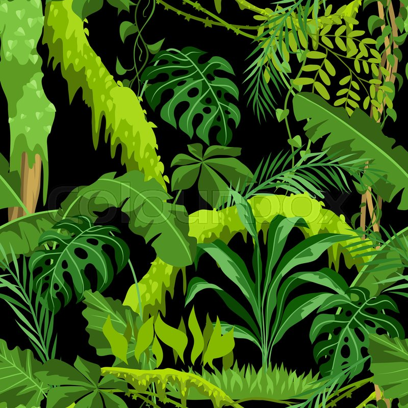 Seamless Pattern With Jungle Plants Stock Vector