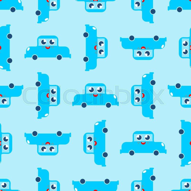 b3be955d5ae6d Cute car pattern. funny auto cartoon ... | Stock vector | Colourbox