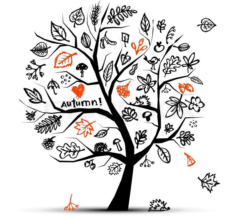 Herbst Baum Skizze Zeichnung Fur Ihr Design
