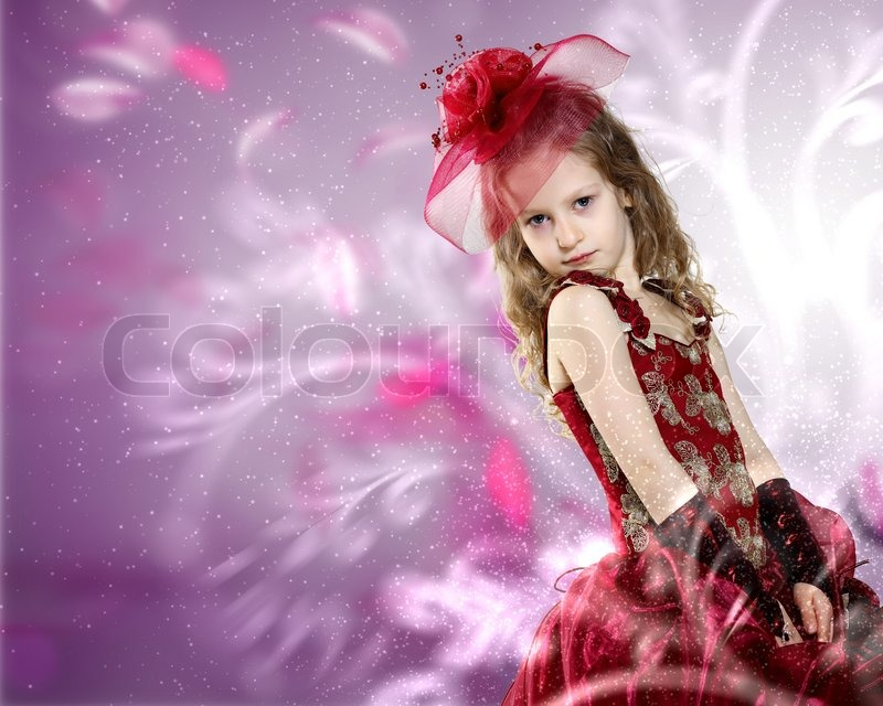Dress on Stock Image Of  Little Girl Dressed Up In Beautiful Dress
