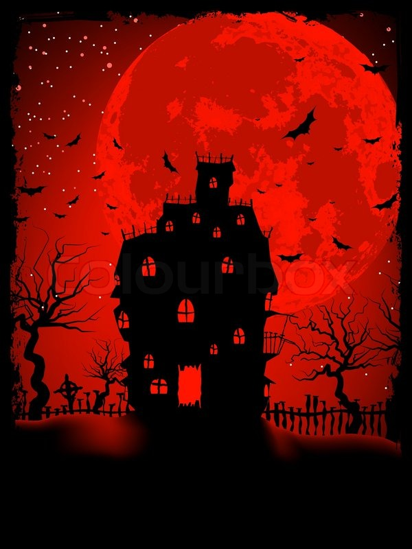Scary Halloween Castle with Copy Space EPS 8 | Stock Vector ...