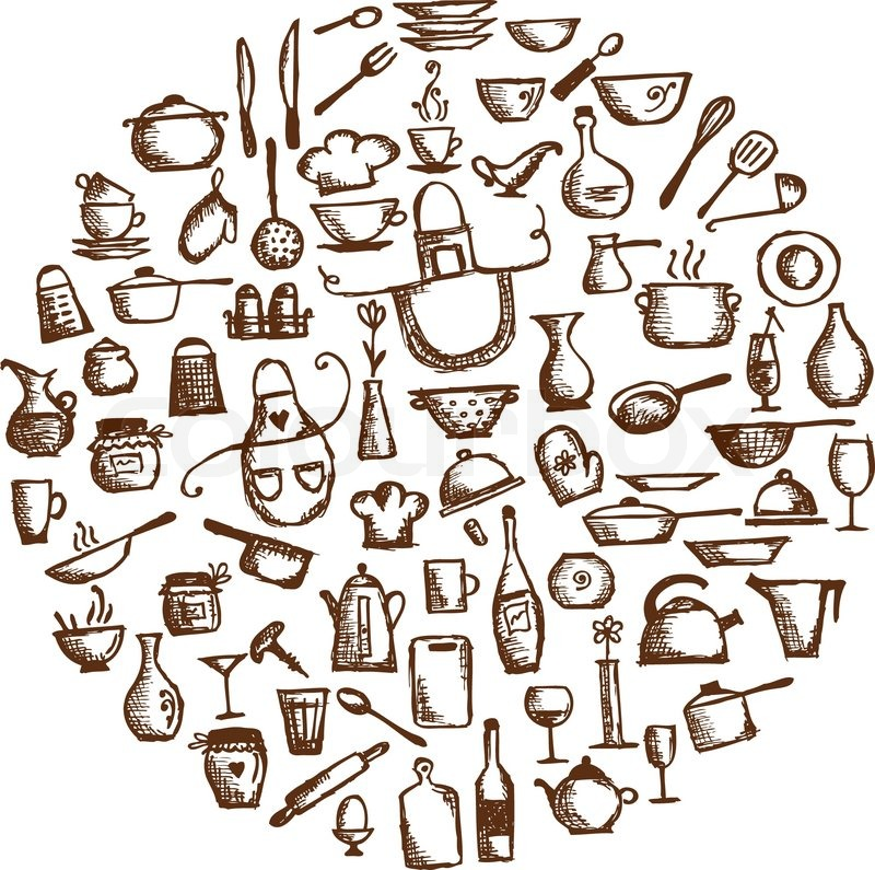 Stock vector of Kitchen utensils, sketch drawing for your design