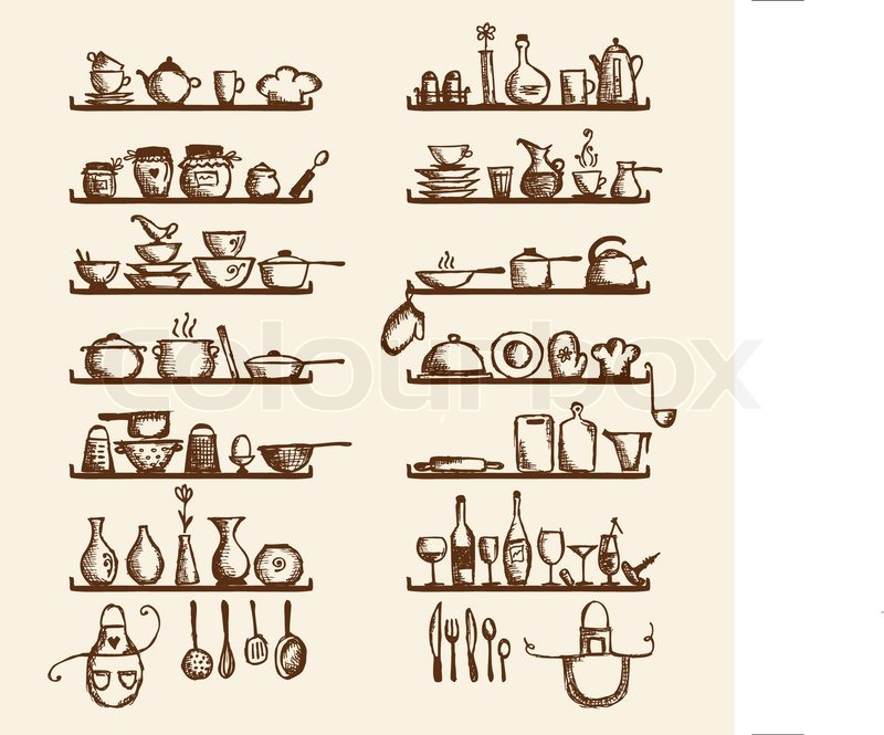 Kitchen Utensils On Shelves Sketch Drawing For Your Design
