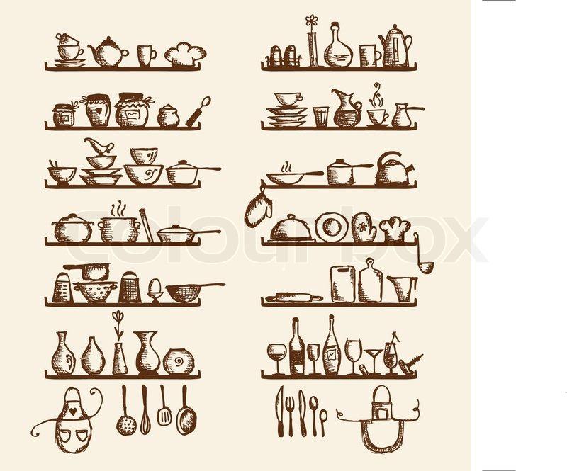 Kchengerte In Regalen Skizze Zeichnung Fr Ihr Design