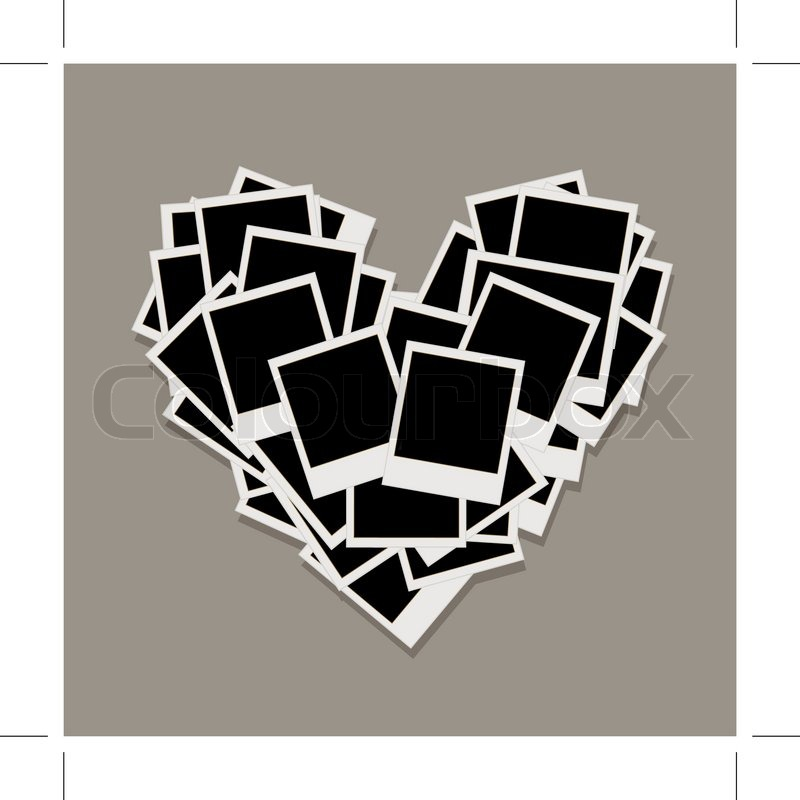 Stock vector of 'Heart shape made from photo frames, insert your photos'