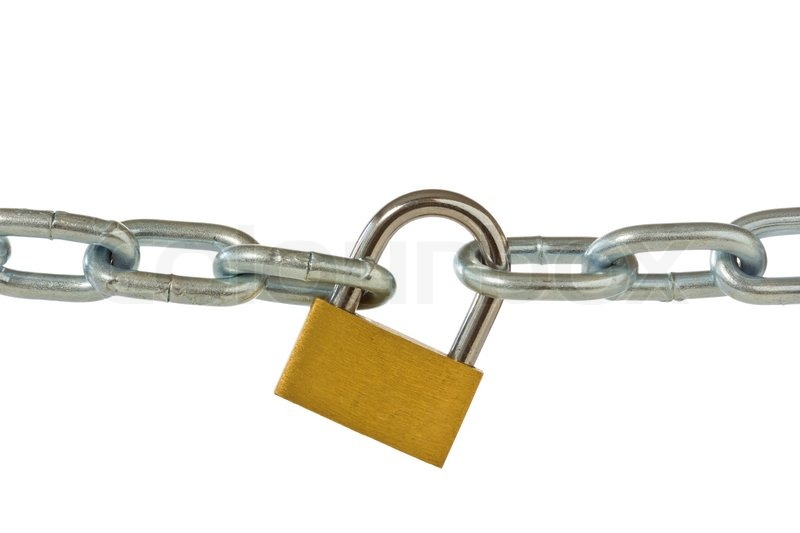 Lock and chain isolated on white stock photo colourbox - How to open chain lock ...