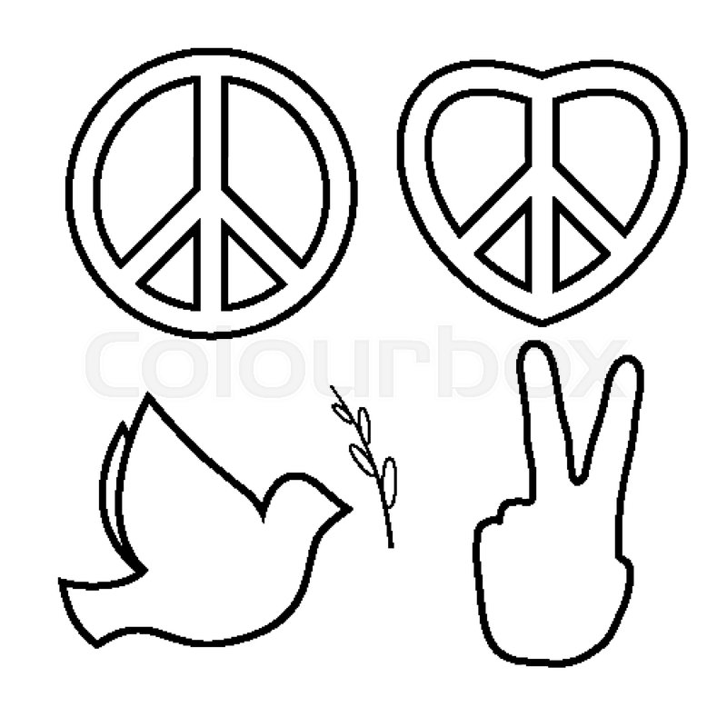 Outlined hippie peace sign  Line icons     | Stock vector | Colourbox