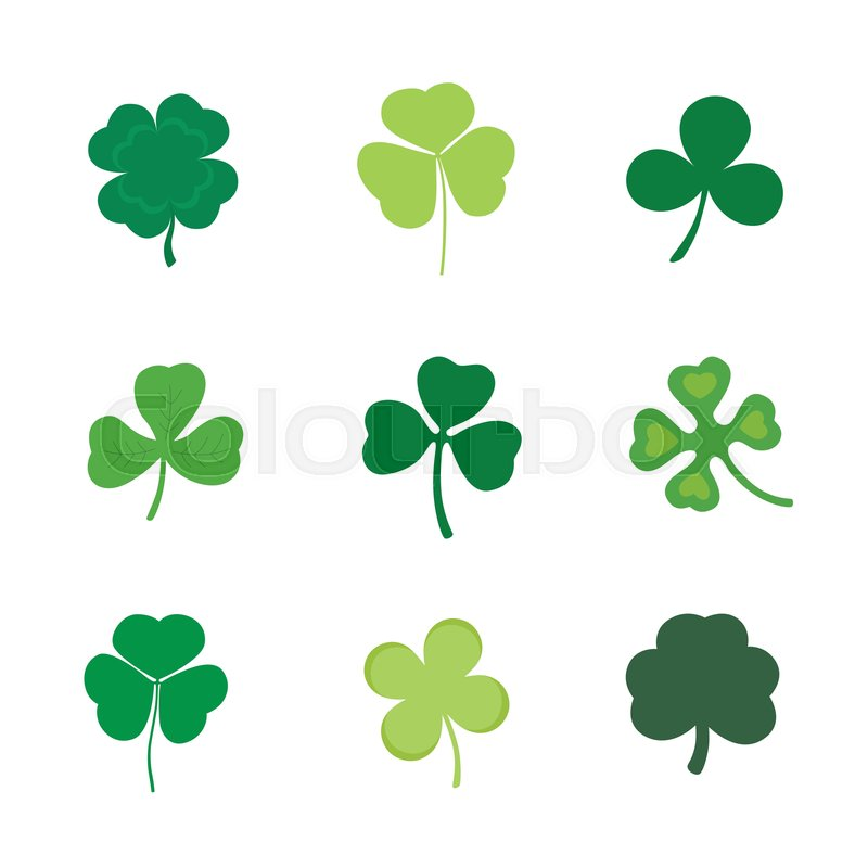 Set Of Four And Three Leaf Clover Stock Vector Colourbox