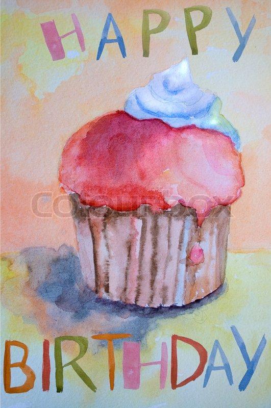 Watercolor Illustration Of Cake Stock Photo Colourbox