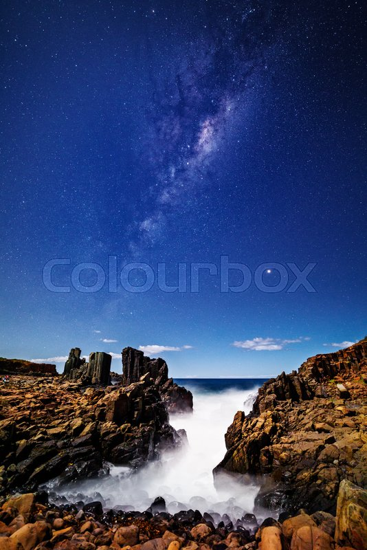 Stock image of 'Milky Way stars shining brightly over Bombo and its southern channel'