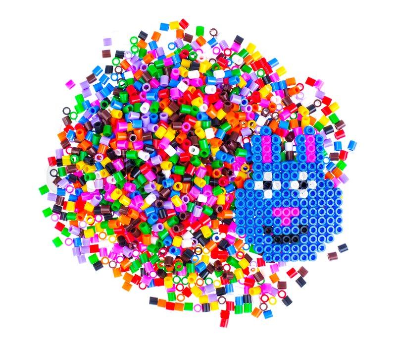 Mix color plastic particles children\'s mosaic. Studio Photo , stock photo