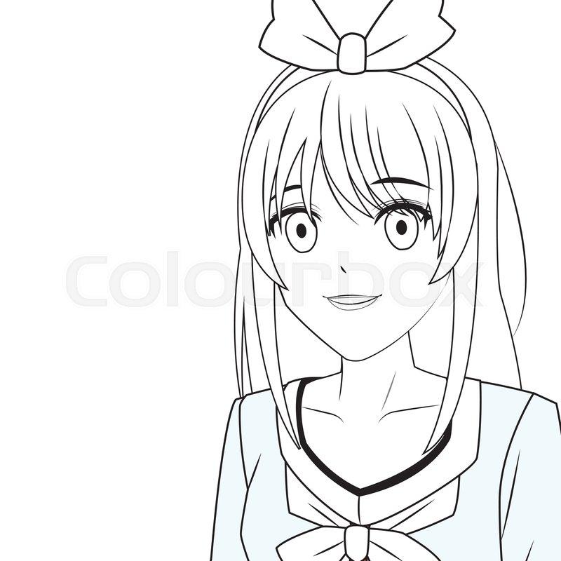 Anime Manga Girl With Ribbon Portrait Stock Vector Colourbox