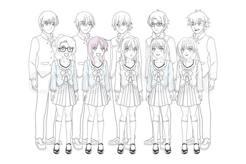 Anime Manga Group Men And Women Black Stock Vector Colourbox