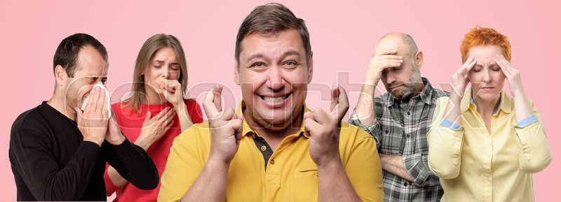 Horizontal collage portrait of several people being ill. Mature man in the middle crossing fingers. He is afraid to catch flu, stock photo