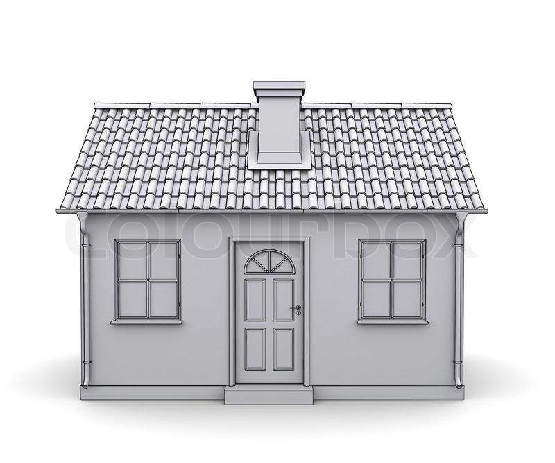 Fachwerkhaus 3d modell eines wei en stockfoto colourbox for Fachwerkhaus skizze