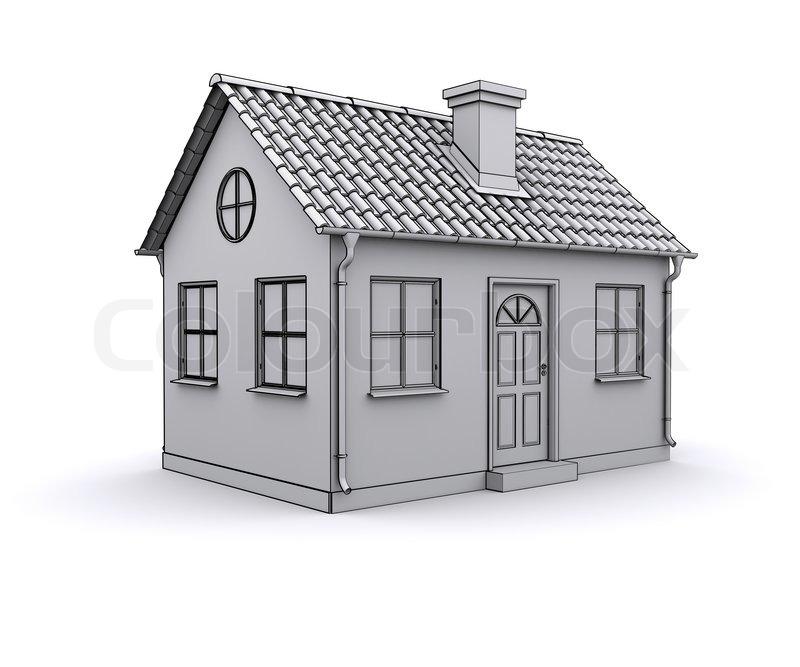 Frame house 3d model of a white stock photo colourbox for Dessin maison 3d