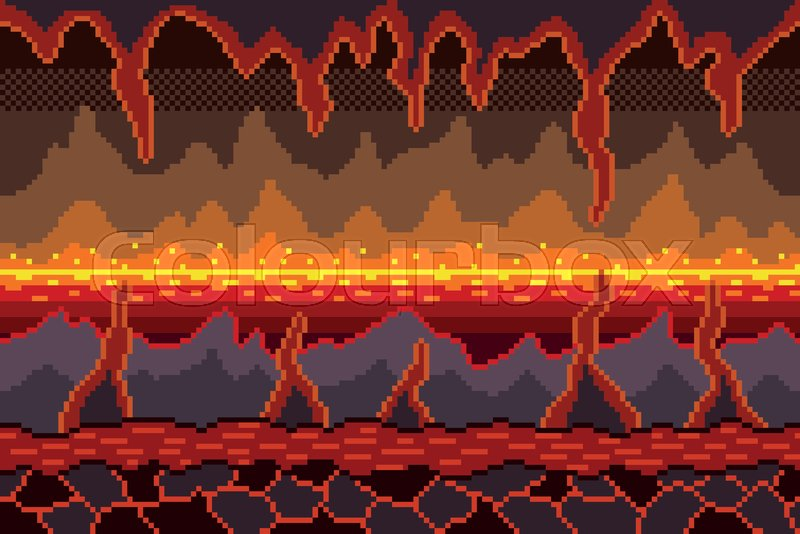 Pixel Art Hell Seamless Background Stock Vector