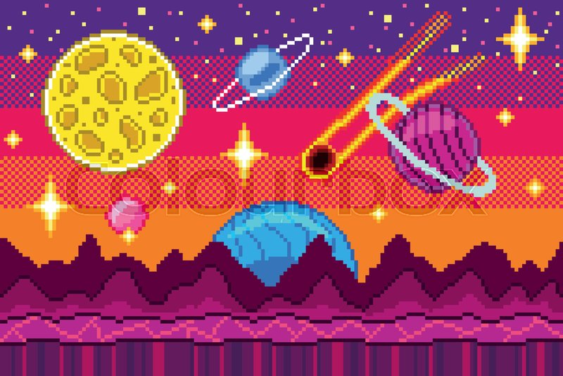 Pixel Art Space Seamless Background Stock Vector Colourbox