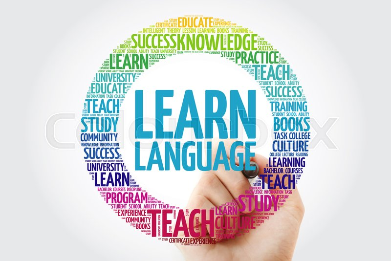 Learn Language word cloud with marker, education business concept, stock photo