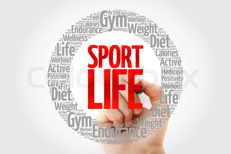 Sport Life circle stamp word cloud with marker, fitness, sport, health concept, stock photo