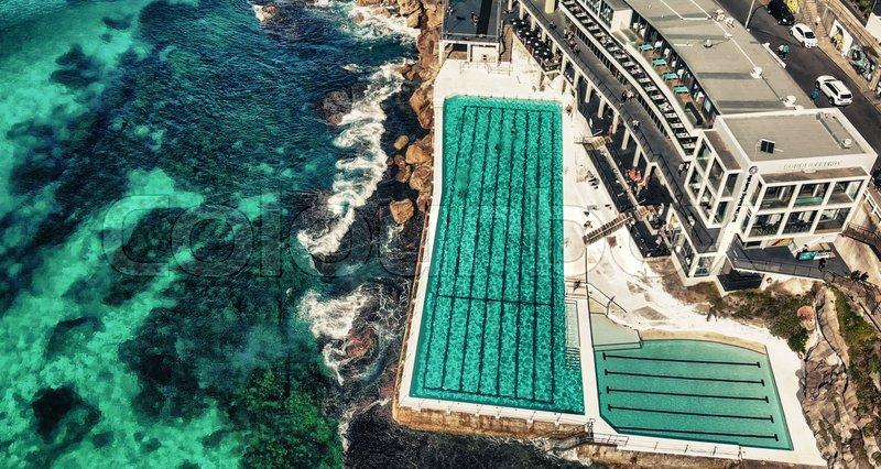 Aerial overhead view of Bondi Beach Pools area, Australia, stock photo