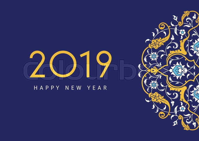 2019 New Year greeting card        Stock vector   Colourbox