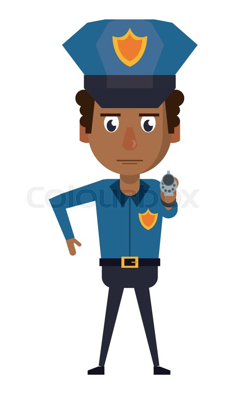 Police officer pointing with gun     | Stock vector | Colourbox