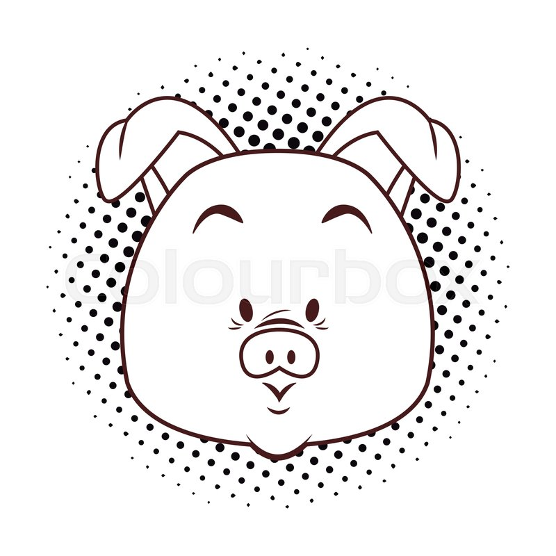 Cute Pig Cartoon Pop Art Black And Stock Vector Colourbox