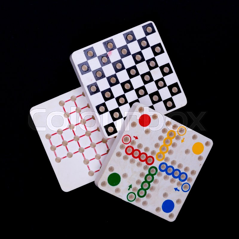 Vintage games, isolated on a black background, stock photo