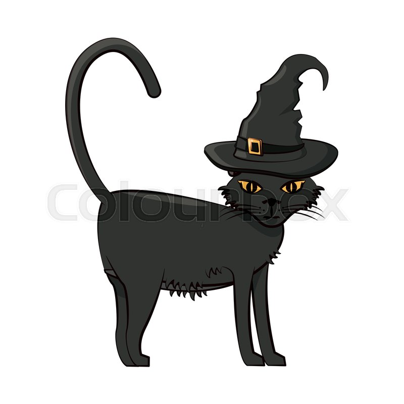 Halloween Cat With Witch Hat Scary Stock Vector Colourbox