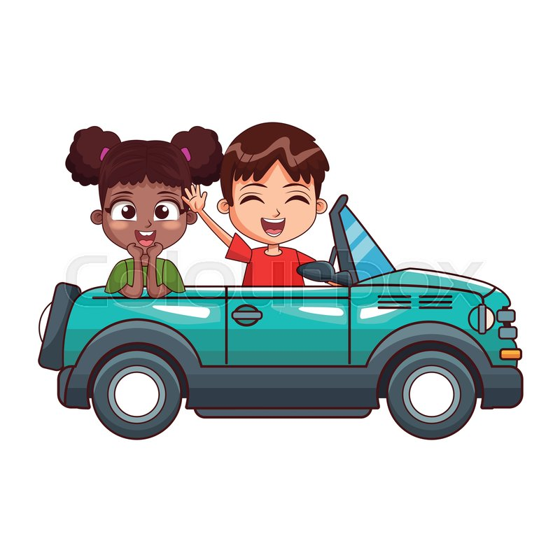 Cartoon Two Smiling Kids Driving Car Stock Vector Colourbox