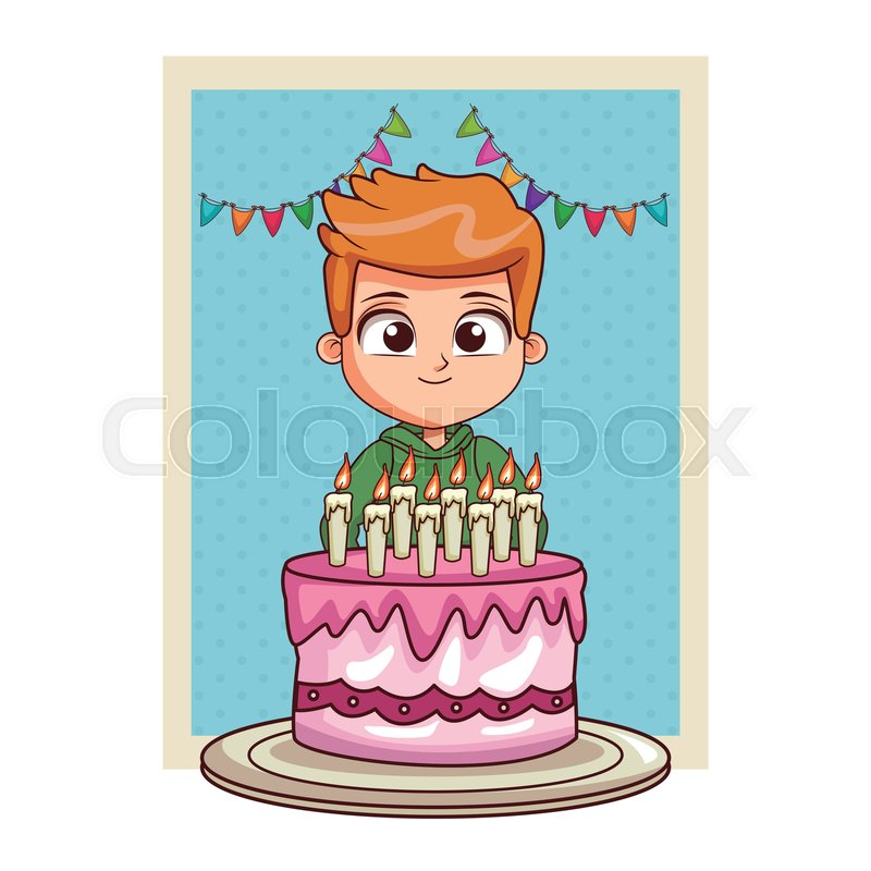 Enjoyable Boy Happy Birthday With Big Cake Card Stock Vector Colourbox Personalised Birthday Cards Veneteletsinfo