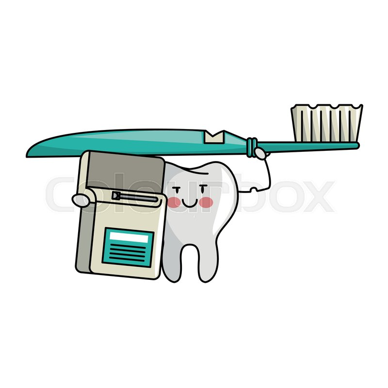 4a91a1905 Stock vector of  tooth holding toothbrush and floss cartoons vector  illustration graphic design